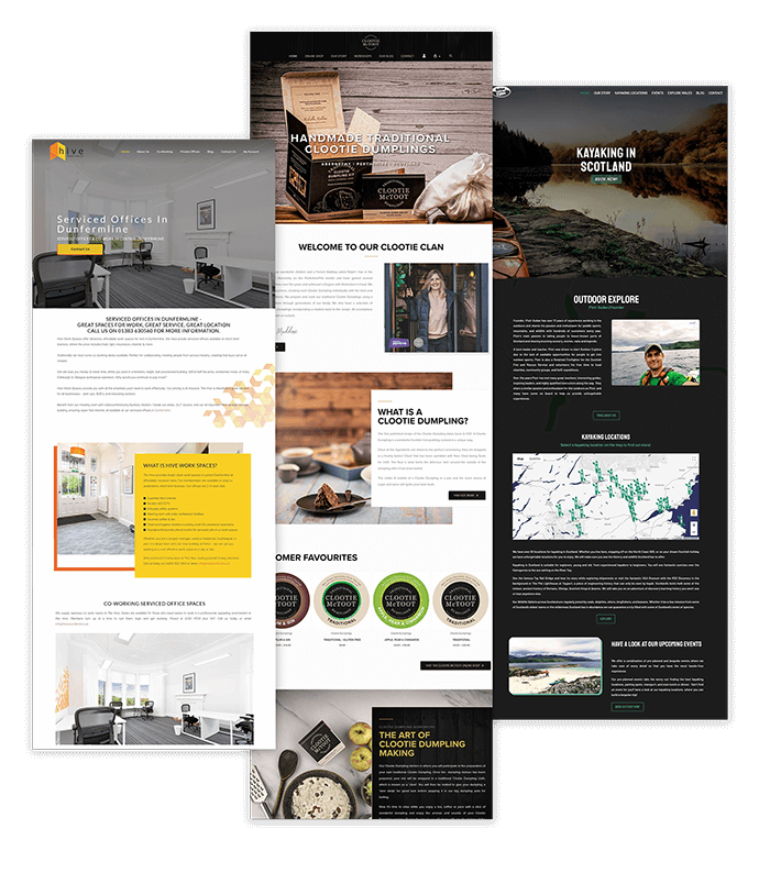 Picture of three web design projects of companies based in Perth, Dundee and sorrounding areas in Scotland