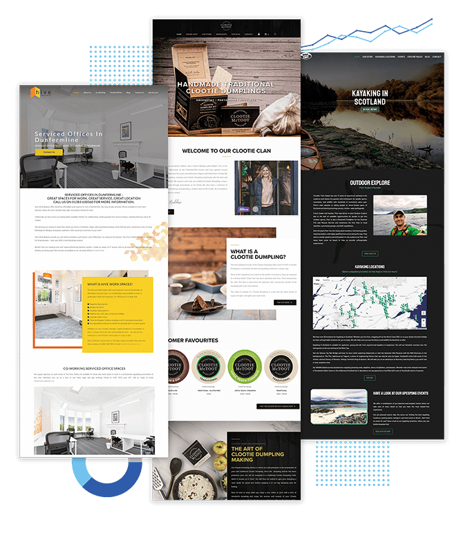 Three web design projects of companies based in Perth, Dundee and sorrounding areas in Scotland